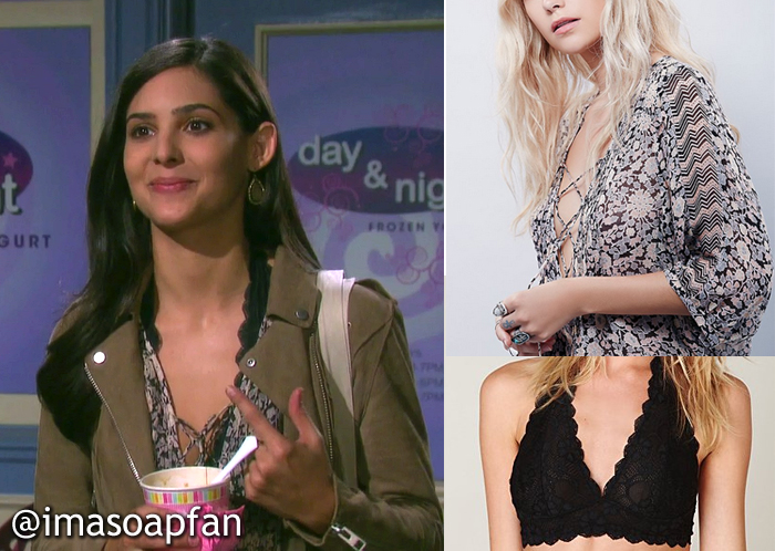 78e3cd5d8e Gabi s Pink Lace-Up Floral Top (out of stock) and Black Lace Halter Bra.  See more Free People Clothing.