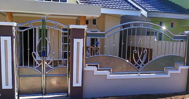 Pagar Rumah Minimalis Stenlis  55 inspirasi pagar stenlis rumah minimalis model pagar