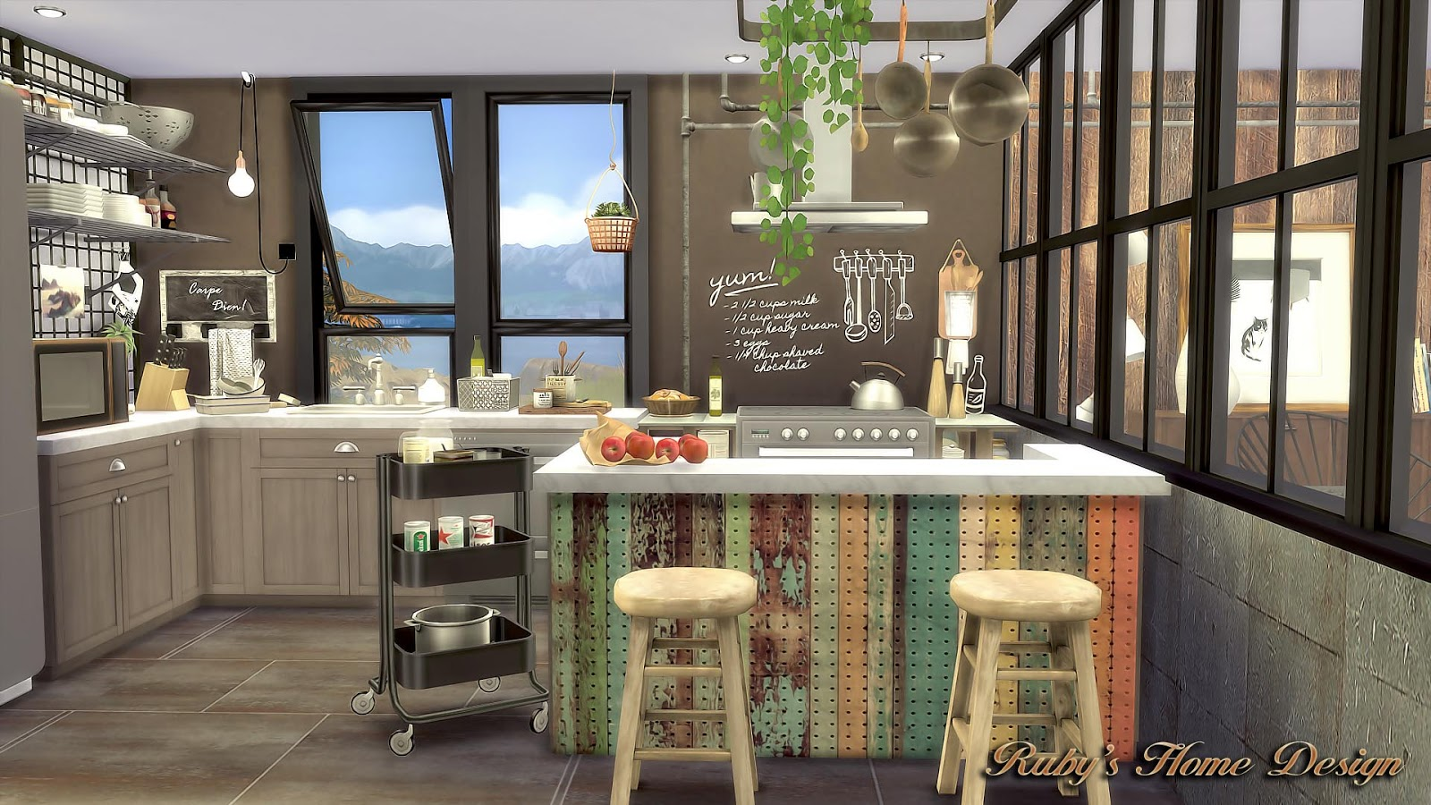Windows for houses design - Sims4 Mid Century Industrial Loft No Download Link