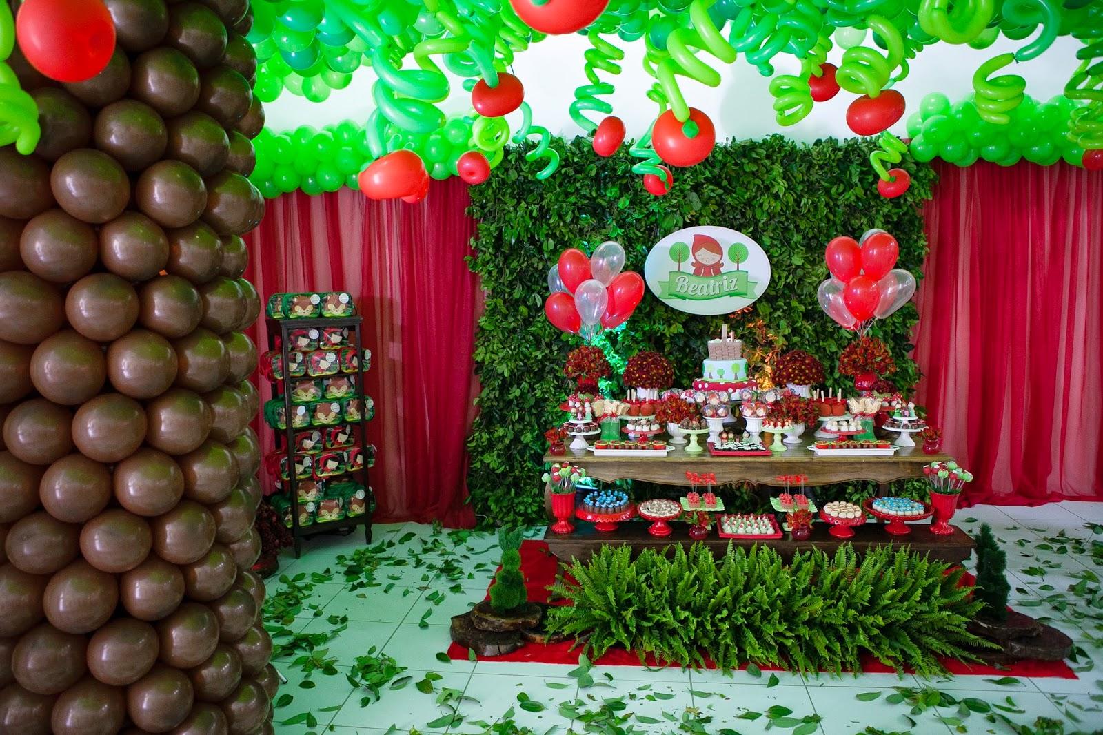 decoração festa chapeuzinho vermelho, mesa tematica