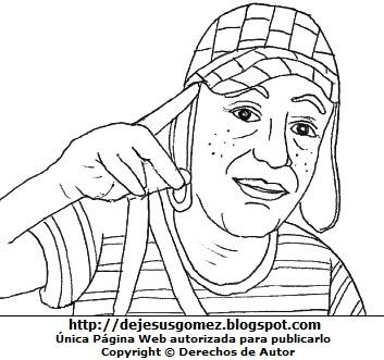 Dibujo del Chavo del Ocho para colorear pintar imprimir recortar y pegar. Dibujo del Chavo del Ocho hecho por Jesus Gomez