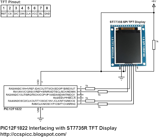 PIC12F1822 and ST7735 SPI TFT Example Circuit