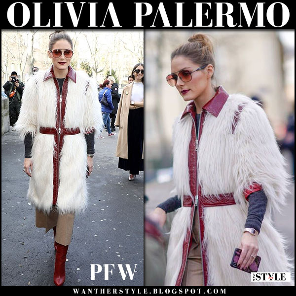 Olivia Palermo in white fur coat giambattista valli and red leather boots christian louboutin fashion week outfits march 5