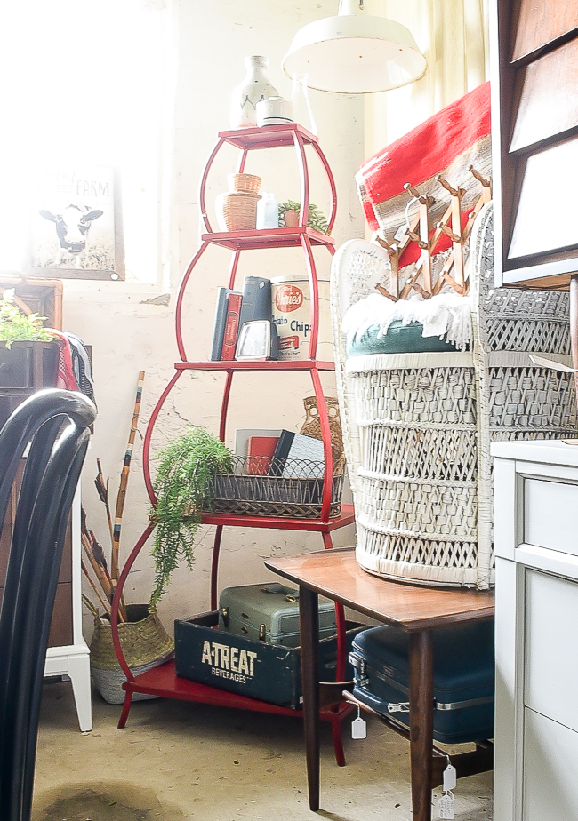 red metal collapsable stacked shelving unit