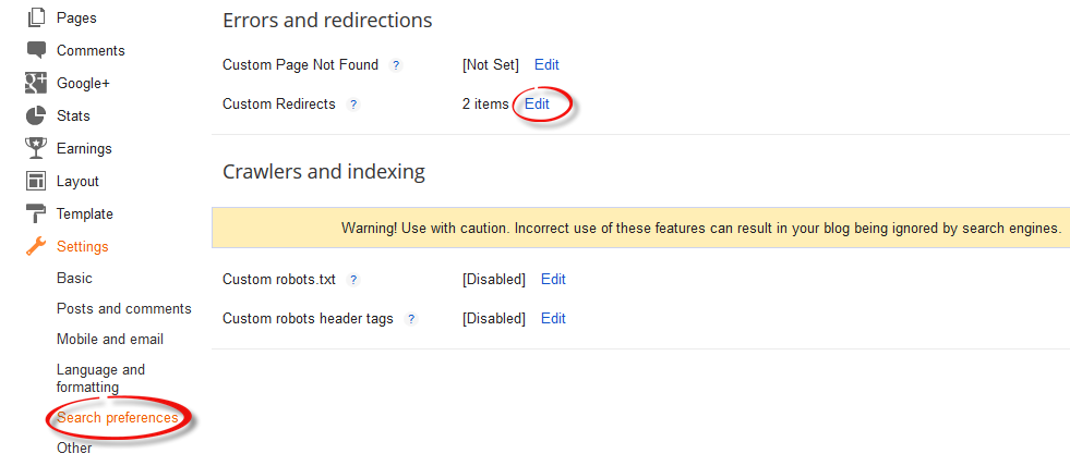 search preferences, custom redirects, 301, 302 redirect