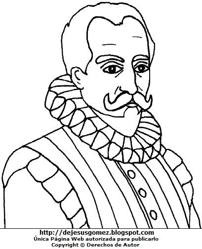Imagen de Miguel de Cervantes Saavedra para colorear pintar imprimir, recortar y pegar. Dibujo de Miguel de Cervantes Saavedra hecho por Jesus Gómez