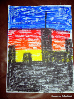 Art Resource Reviews on the Virtual Refrigerator, an art link-up hosted by Homeschool Coffee Break @ kympossibleblog.blogspot.com - Cityscape in Kwik Stix solid tempera paints