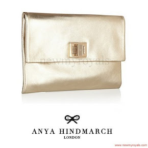 Crown Princess Victoria carried Anya Hindmarch Gold Metallic Clutch