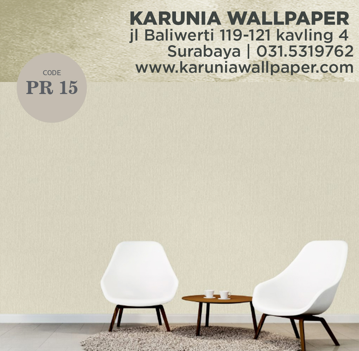 jual wallpaper dinding warna cream simple polos