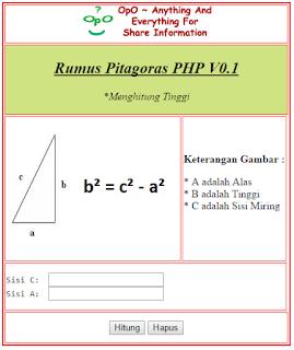 Menghitung Tinggi Pitagoras Menggunakan PHP Dan HTML