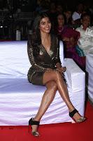 Pooja Hegde looks glamarous in deep neck sleevless short tight golden gown at Duvvada Jagannadham thank you meet function 035.JPG