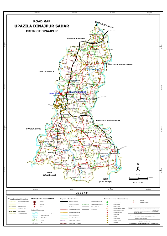 Dinajpur Sadar Upazila Road Map Dinajpur District Bangladesh