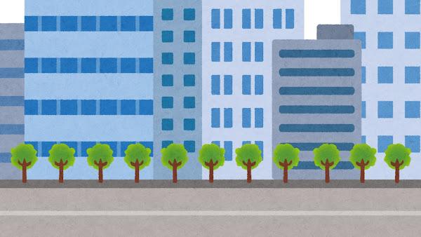 オフィス街・ビル街のイラスト(背景素材)