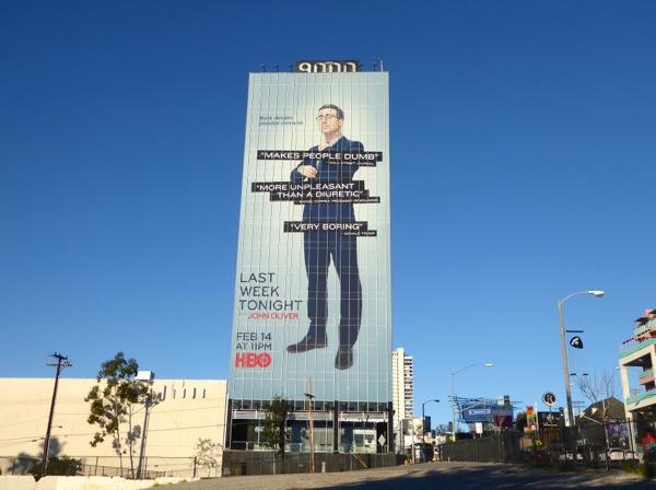Giant Last Week Tonight John Oliver season 3 billboard Sunset Strip