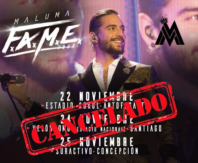 Cancelan presentaciónes de Maluma en Chile