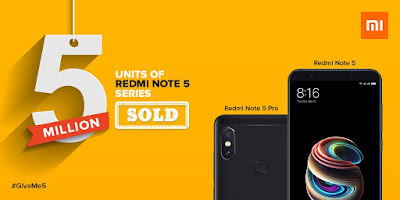 5 million Redmi Note 5 and Redmi Note 5 Pro units sold in India in 4 months