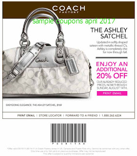 free Coach coupons april 2017