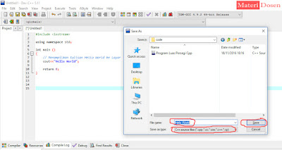 Save program Hello World dengan Ekstensi .cpp