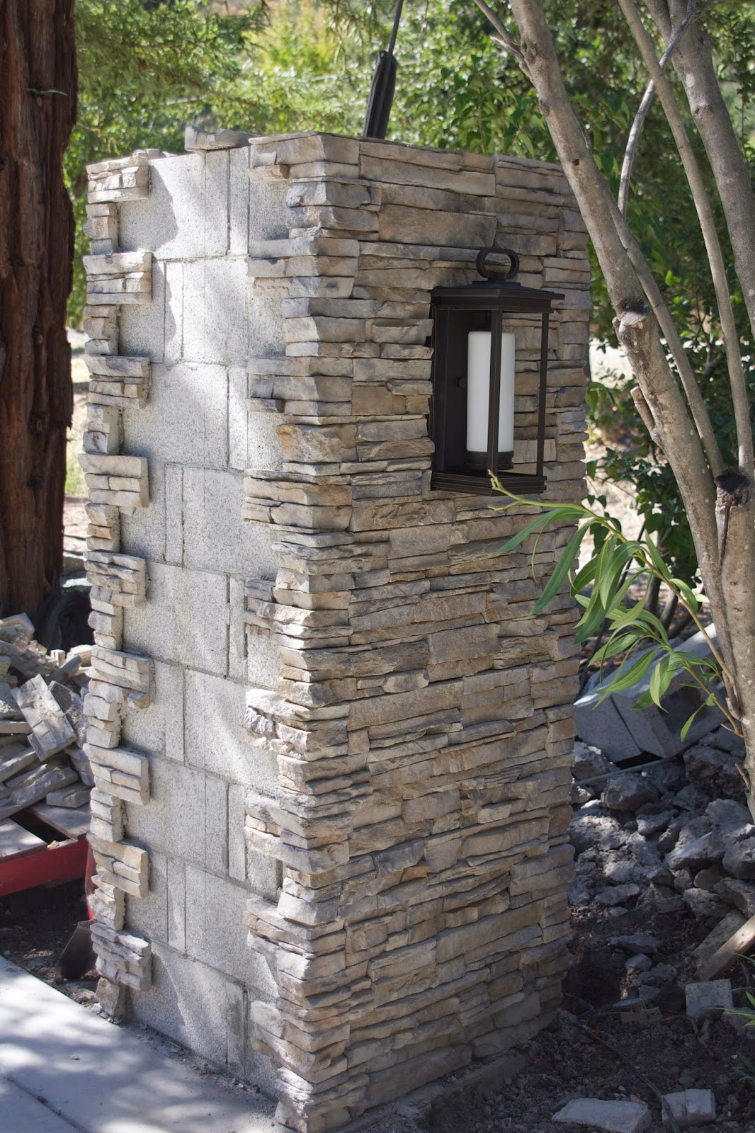 Simply Organized Outdoor Update Stacked Stone Pillar