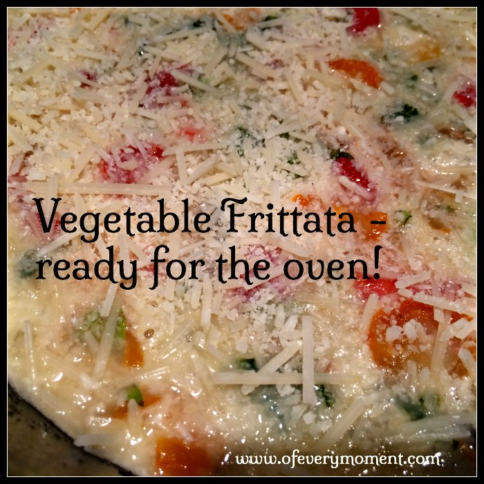 Add cheese, then bake the frittata at 400 degrees