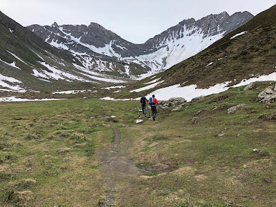 View of the trail for the two day hike. Above Rifugio Bonatti, walking south-southeast into Valley of Malatrà.
