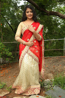 Akshara in Red Saree Golden Choli at LV Movie Makers Production No 1 Movie Opening ~  Exclusive 015.JPG
