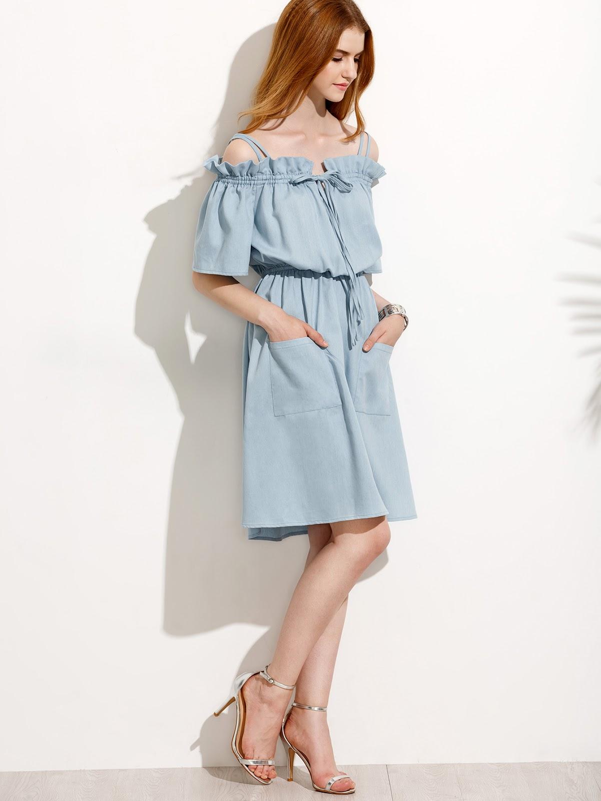 Light Blue Pocket Tie Cold Shoulder Dress