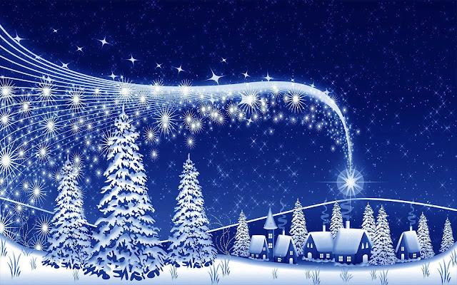 Blauwe kerst wallpaper met kerstbomen en een dorp