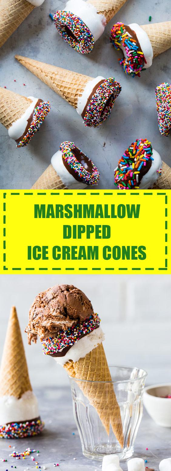 Marshmallow Dipped Ice Cream Cones Recipe
