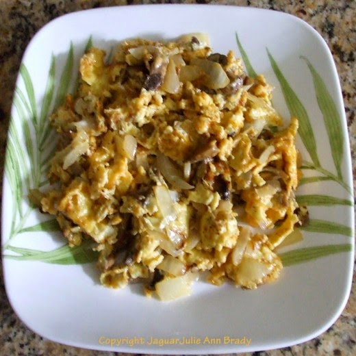 Cheesy Scrambled Eggs with Mushrooms and Onions