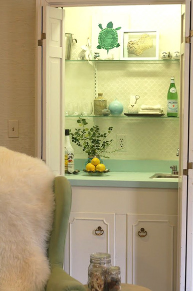 Belle Maison Reader Makeover A 70 S Wet Bar Gets A Fresh
