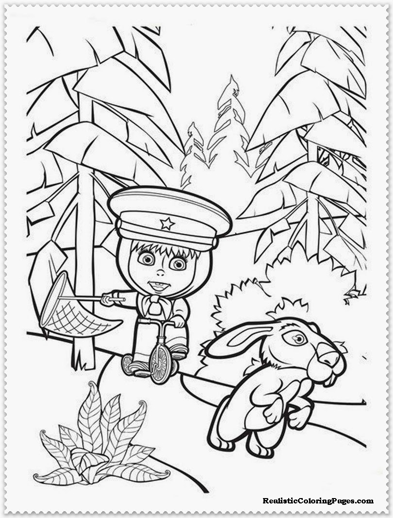masha and the bear following the rabbit printable coloring pages free