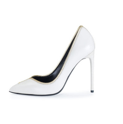 Tom Ford White Leather Trim High Heeled Pumps