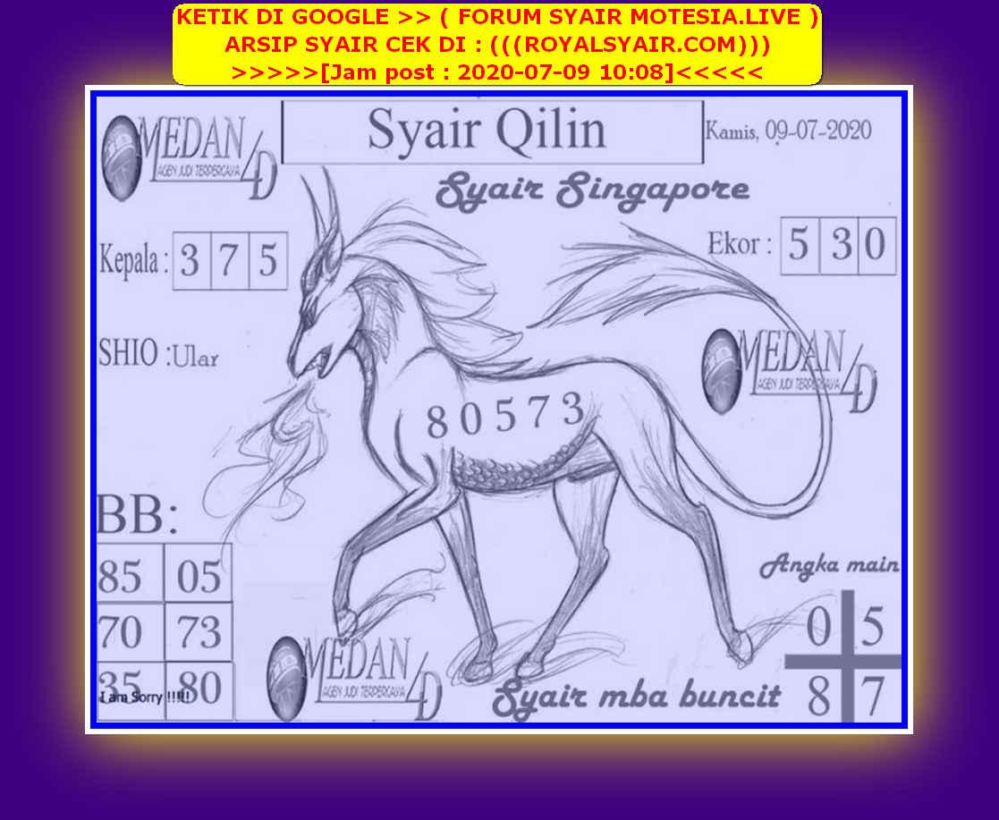 Kode syair Singapore Kamis 9 Juli 2020 125
