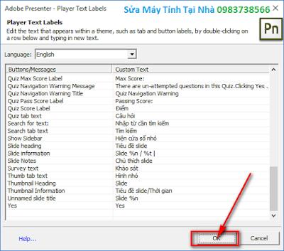 Việt hóa chi tiết giao diện bài giảng E-Learning
