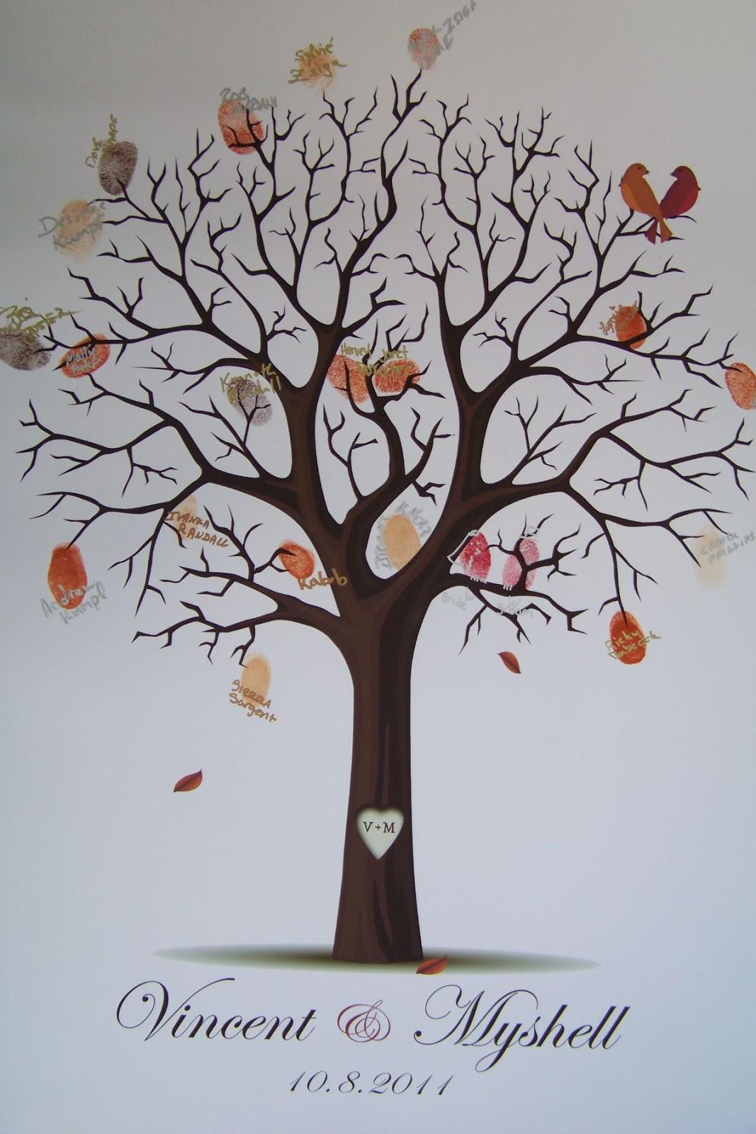1 Set DIY Fingerprint Tree Guest Book Sign in Book Wedding ...  |Diy Fingerprint Tree
