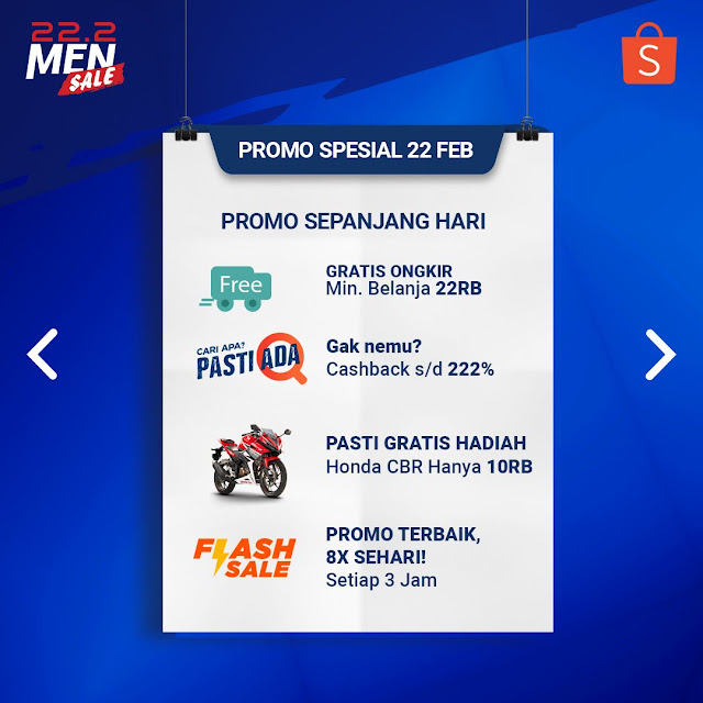 #Shopee - #Promo Puncak 22.2 MEN SALE, Cashbak 222% & Lainnya (HARI INI)