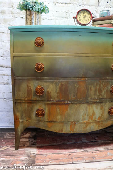 teal, yellow and patina