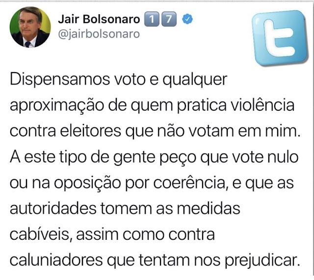 Votos de quem pratica violência são dispensados por Bolsonaro