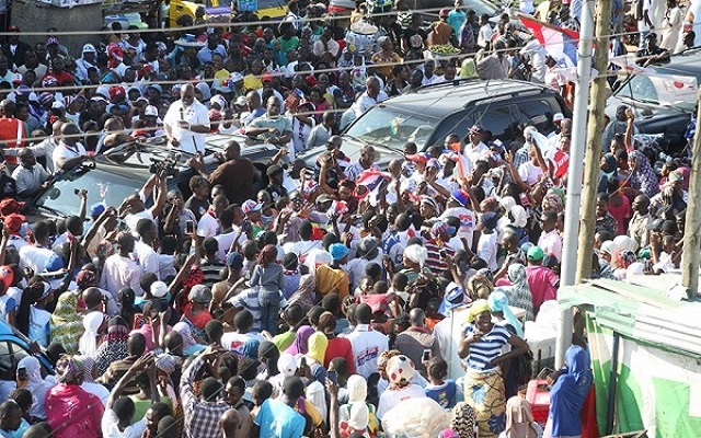 Massive welcome for Akufo-Addo at Nima, Accra.