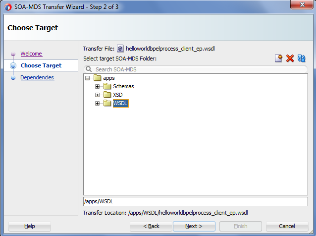 publish service bus artifacts to SOA Design time repository