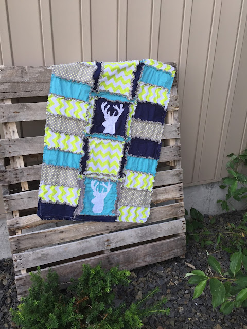 Stag Baby Blanket Rag Quilt in Lime Green, Gray, and Blue by A Vision to Remember
