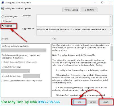 Cửa sổ Configure Automatic Updates