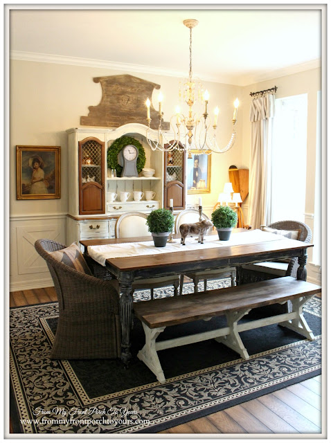 Farmhouse-French Country Dining Room-Crossbuck Wainscoting- From My Front Porch To Yours