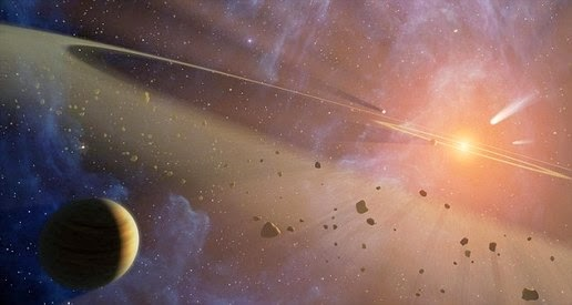 Illustration of the passage of other stars near the solar system would envy thousands of comets into the inner solar system
