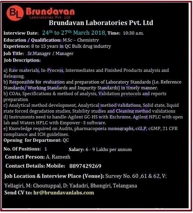 Brundavan Laboratories Pvt  Ltd  Walk-In Interview for M Sc