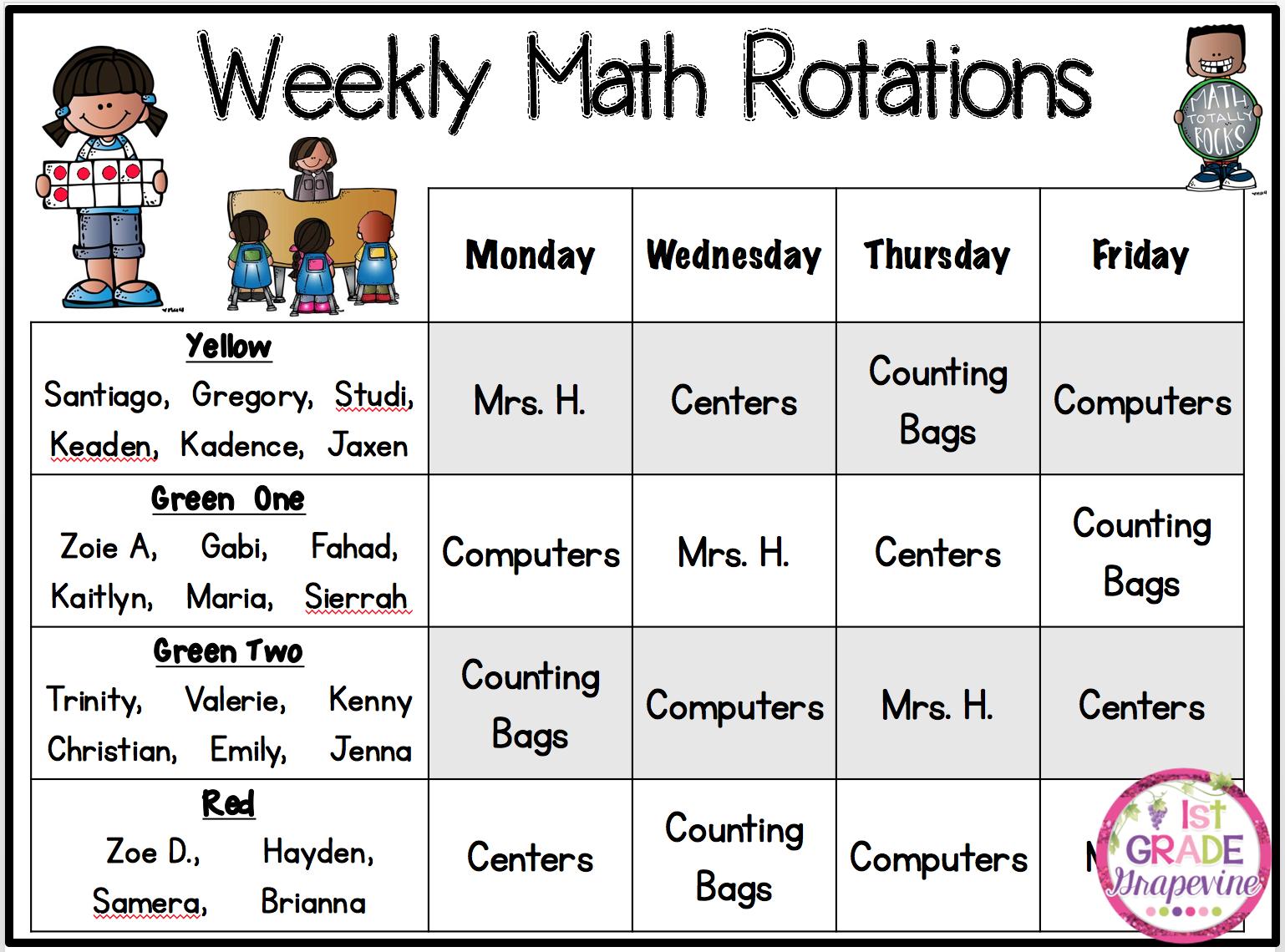 1st Grade G Vine Math Rotations Help Manage Centers