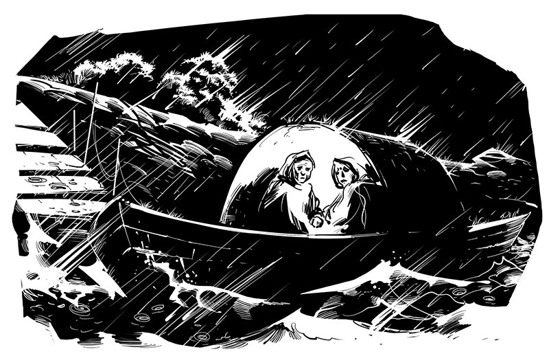 horror people on boat on river in rainy night illustration