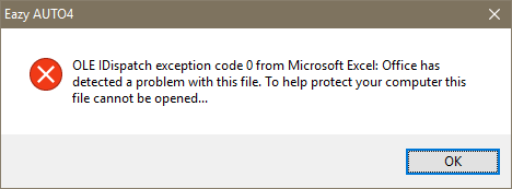 OLE IDispatch Exception code 0 from Microsoft Excel Office has detected a problem with file. To help protect your computer this file cannot be opened www.exceltotally.in