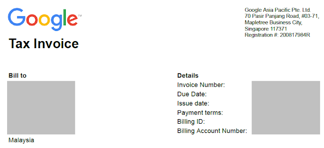 Sample Google invoice (billed from Singapore)